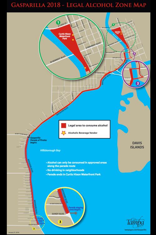 Gasparilla 2018 - Legal Alcohol Zone Map