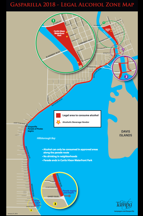 Gasparilla 2018 - Legal Alcohol Zone Map