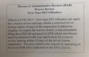Waiver Review - First Time DUI Offenders