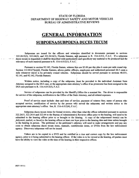 Subpoena Duces Tecum Bureau of Administrative Reviews Rules